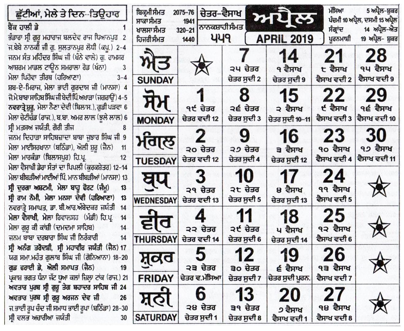 Nanakshahi Calendar April 2019